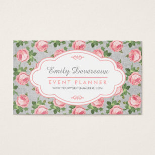 Emily t business cards business card printing zazzle uk shabby chic vintage rose floral personalised business card reheart Choice Image