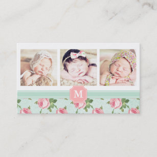 Cute pink roses retro business cards business card printing shabby chic vintage rose floral personalised business card reheart Choice Image