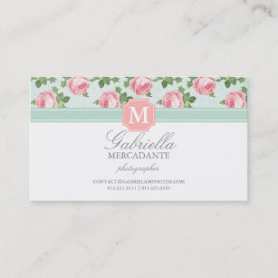 Cute pink roses retro business cards zazzle uk shabby chic vintage rose floral personalised business card reheart Image collections