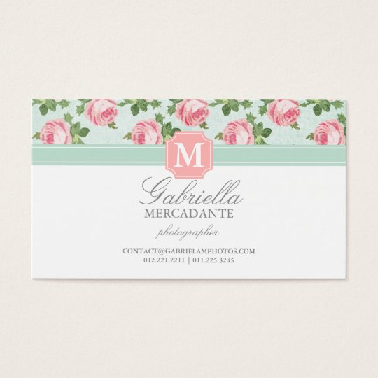 Shabby & Chic Vintage Rose Floral Personalised Business