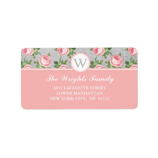 Shabby & Chic Vintage Rose Floral Personalised Label