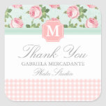 Shabby & Chic Vintage Rose Floral Personalised Square Sticker