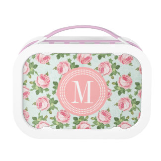 Shabby & Chic Vintage Rose Floral Personalized Lunch Box