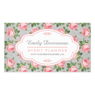 Shabby & Chic Vintage Rose Floral Personalized Pack Of Standard Business Cards