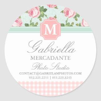 Shabby & Chic Vintage Rose Floral Personalized Round Sticker