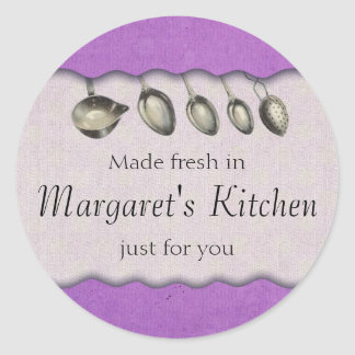 Shabby chic vintage spoons food gift tag labels round sticker