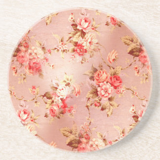 Shabby Chic Wallpaper Beverage Coaster