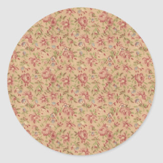 Shabby Chic Wallpaper Classic Round Sticker