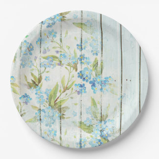 Shabby Chic Wood and Blue Flowers Paper Plate 9 Inch Paper Plate