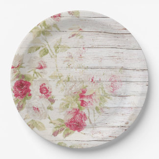 Shabby Chic Wood and Roses Paper Plate 9 Inch Paper Plate