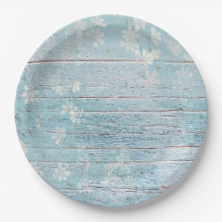 Shabby Chic Wood Blue White Flowers Paper Plate 9 Inch Paper Plate