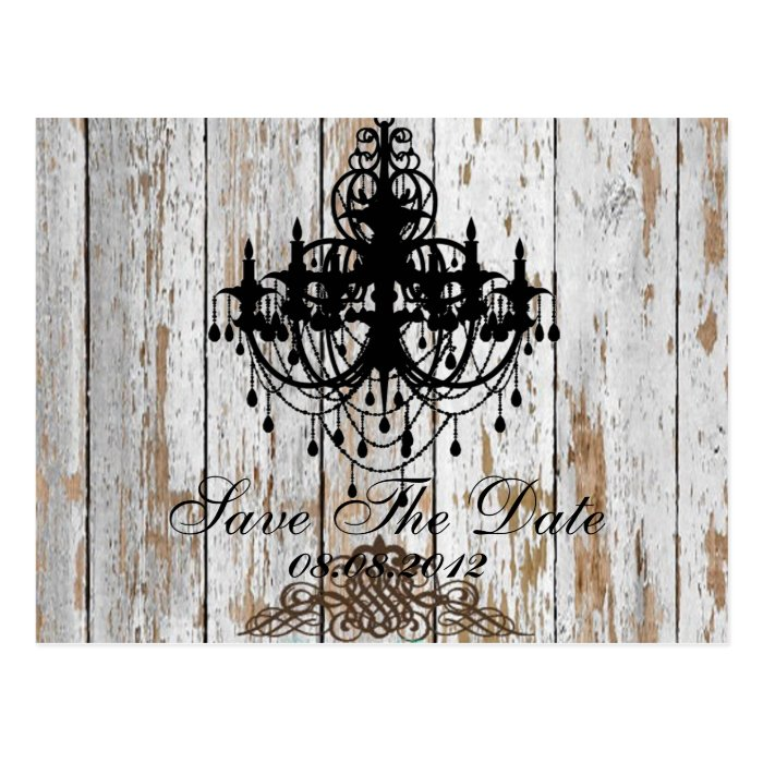 shabby chic wood country wedding save the date postcard