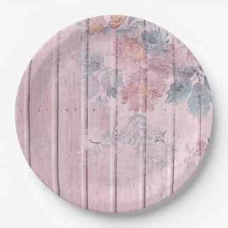 Shabby Chic Wood Lavender Blue Flowers Paper Plate