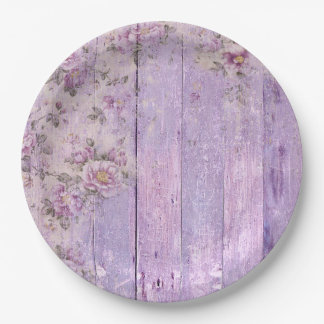 Shabby Chic Wood Lavender Flowers Paper Plate