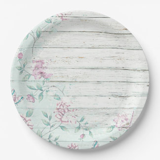 Shabby Chic Wood Vintage Flowers Paper Plate 9 Inch Paper Plate