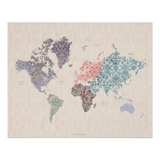 Shabby Chic World Travel Map Poster