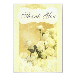 Shabby Chic Yellow Peony Flowers Thank You Card 13 Cm X 18 Cm Invitation Card