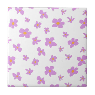 Shabby Chich Pink and Yellow Flower Print Tiles
