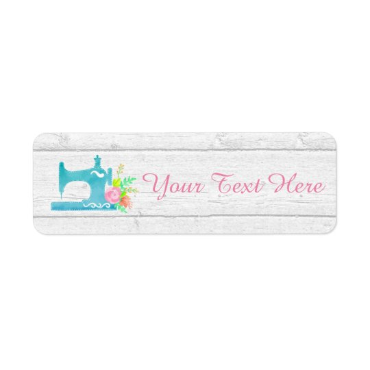 Shabby Cottage Chic Sewing Machine Rustic Wood Return Address Label