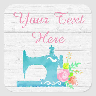 Shabby Cottage Chic Sewing Machine Rustic Wood Square Sticker