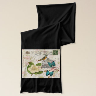 shabby elegance camellia french bird butterfly scarf