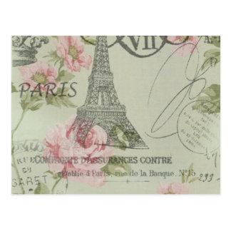 shabby elegance floral spring paris eiffel tower postcard