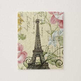 shabby elegance yellow pink floral eiffel tower jigsaw puzzle