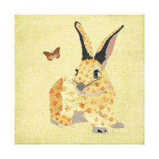 Shabby Floral Bunny Canvas Canvas Print