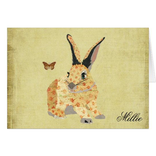 Shabby Floral Bunny  Personalised Notecard
