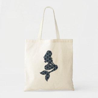 shabby mermaid silhouette design budget tote bag