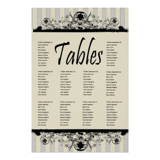 Shabby Old West Cream Seating Chart Poster