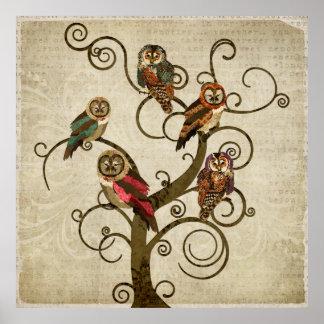 Shabby Owl Tree Art Poster