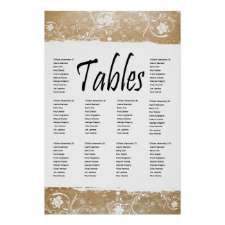 Shabby Parchment and Lace Seating Chart Posters