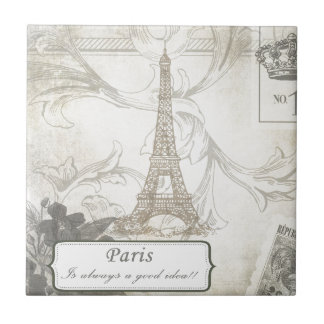 Shabby:  Paris is Always a Good Idea! Small Square Tile
