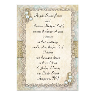 Shabby Pearls Personalized Invite