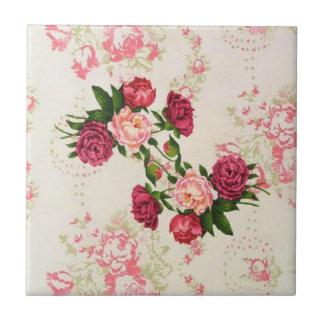 Shabby Pink Roses Tile