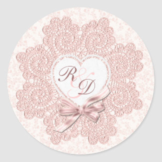 Shabby Pink Victorian Style Monogram Wedding Round Sticker