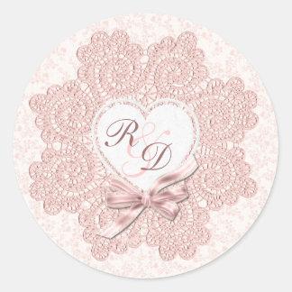 Shabby Pink Victorian Style Monogram Wedding Round Sticker