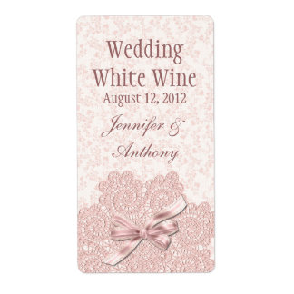 Shabby Pink Victorian Wedding Mini Wine Shipping Label
