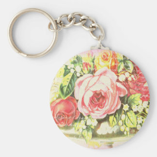 Shabby Rose Collage Art Key Chains