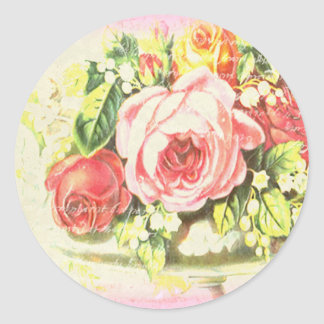 Shabby Rose Collage Art Round Stickers