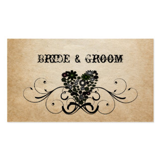 Shabby Rustic Black Heart Place Cards Business Card