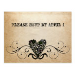Shabby Rustic Black Heart RSVP Postcard
