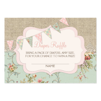 Shabby Rustic Country Chic Diaper Raffle Ticket Pack Of Chubby Business Cards