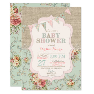 Shabby Rustic Country Chic Floral Lace Burlap 13 Cm X 18 Cm Invitation Card