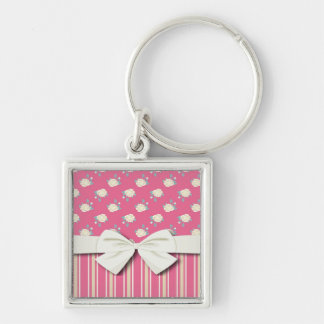 shabby stripes and roses on hot pink keychain