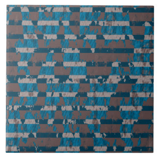 Shabby Stripes in Brown and Blue Large Square Tile