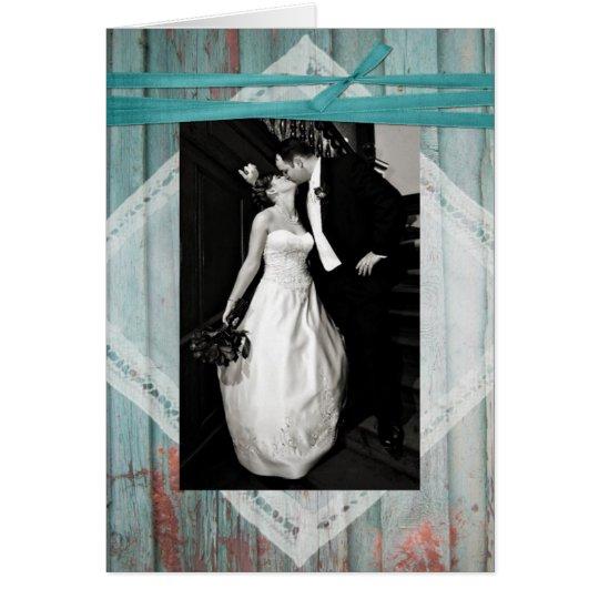Shabby Turquoise Wood Wedding Photo Thank You Card