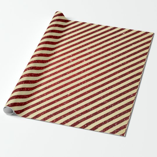 Shabby Vintage Cart Red Glitter Ruby Stripes Wrapping