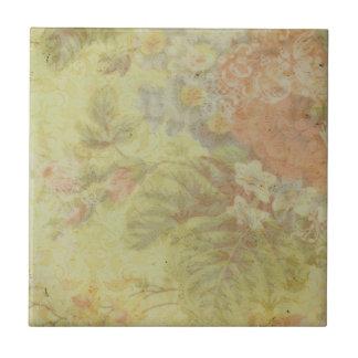 Shabby Vintage Floral Ceramic Tile